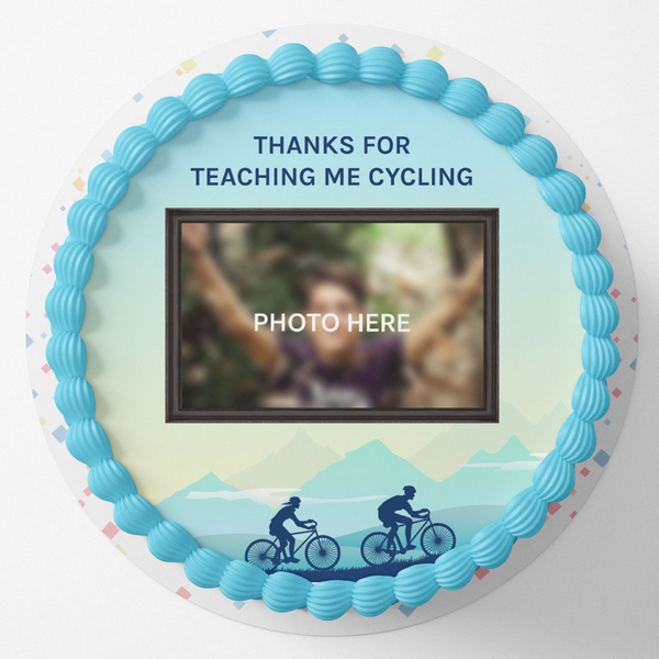 Cycling Special Round Birthday Photo Cake