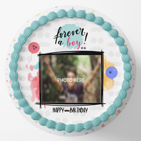 Forever A Boy Round Birthday Photo Cake