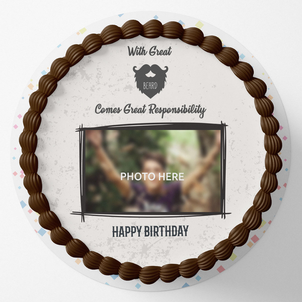 Great Beard Round Birthday Photo Cake