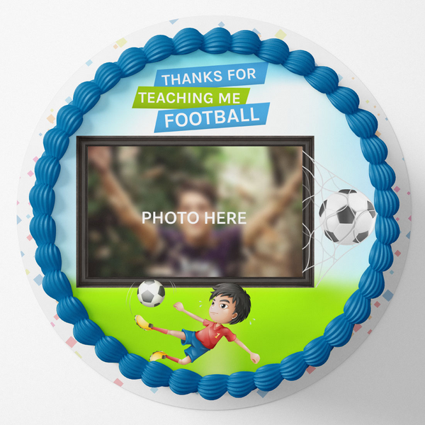 Football Special Round Birthday Photo Cake