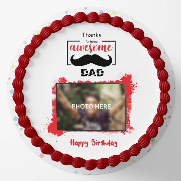 Awesome Dad Round Birthday Photo Cake