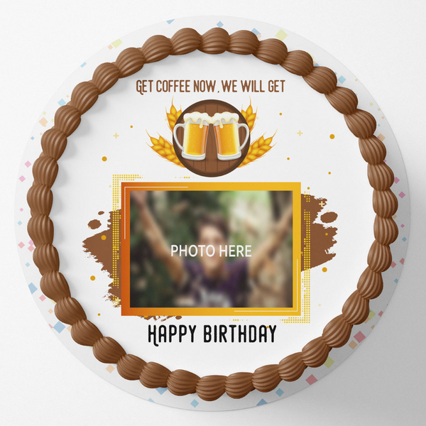 Beer Wala Round Birthday Photo Cake